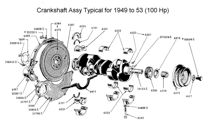 crankshaft & flywheel assy for 1949 to 53
