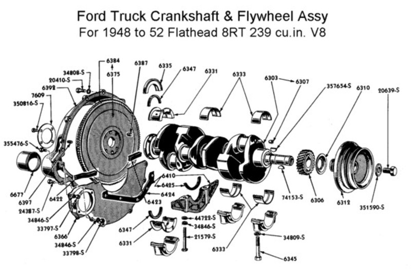 crankshaft & flywheel assy for 1948 to 52 trucks